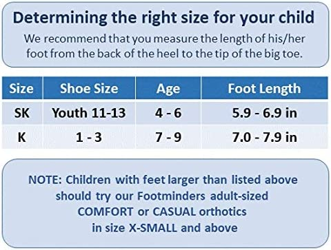 Footminders Kids Orthotic Inserts - Pediatric Arch Supports for Children Ages 7-9 (Pair) - K (Size 1-3½) - Prevent Foot Pain Due to Flat Feet or Low Arches in Children