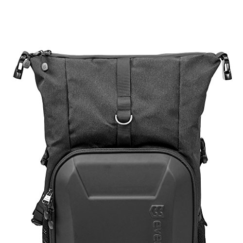 51d 5HjrU5L - Camera Bag, Evecase Shell DSLR Camera/15.6-inch Laptop Double Buckle Water Resistant Backpack Travel Rucksack w/Rain Cover for Nikon Canon Fujifilm Sony Digital SLR, Mirrorless Camera - Black