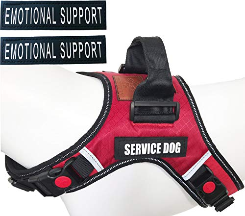 ALBCORP Service Dog Vest Harness - Reflective - Woven Nylon, Neoprene Handle, Adjustable Straps, with Comfy Mesh Padding, and 2 Hook and Loop Removable Patches, Large, Red