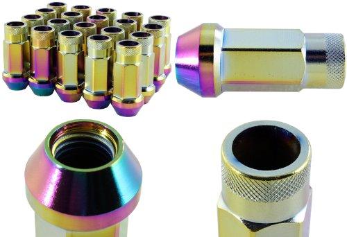 "M12 x 1.5 Thread Pitch Wheel Rim Tuner 1.75"" Long Neo Chrome Lug Nuts - 20 Pieces"