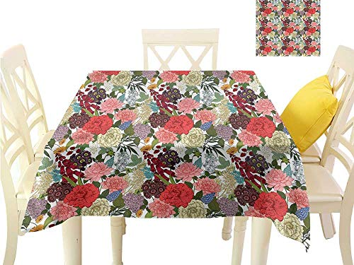 (Flow Spillproof Fabric Tablecloth Romantic Bouquet Design Washable Polyester - Great for Buffet Table, Parties, Holiday Dinner, Wedding & More W60 x L60)