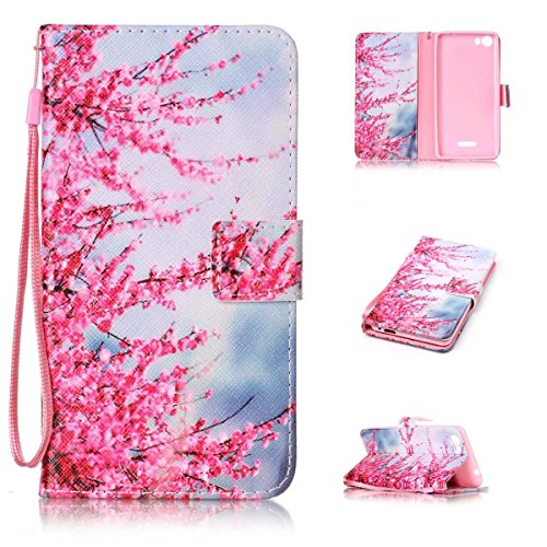 Wiko Fever 4G CASE,KMETY(TM) [Wrist Strap Design] Plum Tower Pattern Premium PU Leather Wallet [Card/Cash Slots] Flip Cover for Wiko Fever 4G