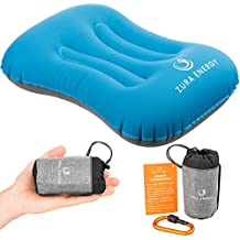 Inflatable Travel Camping Pillow + Locking Carabiner + eBook, Comfortable, Ultralight, Compact, Ergonomic, Beach Inflatable Pillow, Airplane Sleeping & Neck Hammock Support, Camp Backpacking Pillows