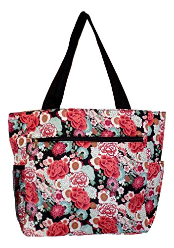 Floral Beach Bag (Large Multi - Pocket Fashion Zipper Top Beach Bag Tote - Custom Embroidery Available (Garden Floral))
