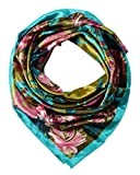 corciova Womem's 100% Silk Feeling Head Scarf for Sleeping Headband 35x35 Inches Camellia Flower Pink Turquoise