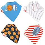 Zippy Fun Baby and Toddler Bandana Bib - Absorbent 100% Cotton Front Dribble Bibs with Adjustable Snaps (4 Pack Gift Set) Boys Sports Dude