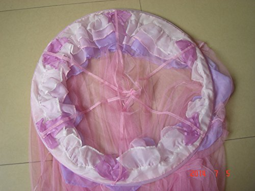 Triple Flower Elegant Lace Bed Mosquito Netting Ruffle Princess Pink Mesh Canopy Round Dome Bedding Net by amz