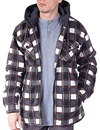 Mens Heavy Flannel Shirt Jacket for Mens Big and Tall Zip Up Fleece W/Hood Size M - 5XL