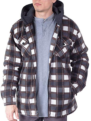 Visive Flannel Jackets for Men Shirt Hooded Zip Up Sherpa Quilted Hoodie 2X Brown