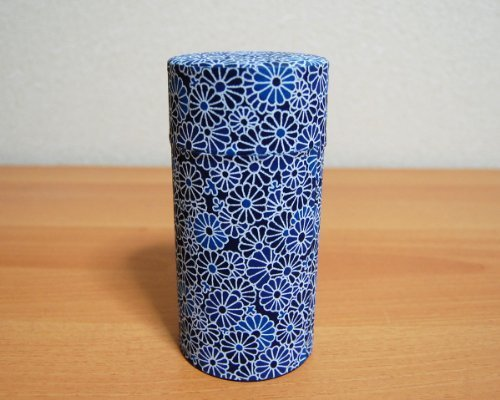 Ryu Mei Aizome Blue Japanese Tea Tin [Type 4] - Japanese Tea Canister