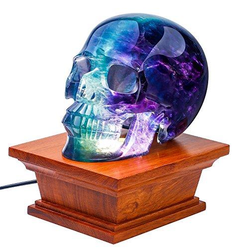 Skullis, Rikoo Rosewood LED White Light Display Stand, Crystal Lamp Wooden Base for Gemstone Crystal Stone Sculpture & Mineral Specimen.