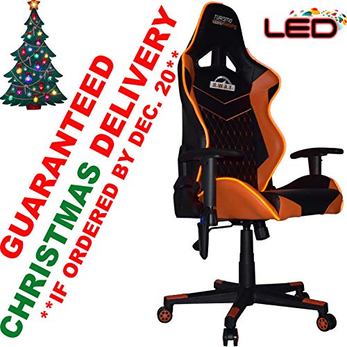 Turismo Racing S.W.A.T. Series Orange LED Gaming Chair Big and Tall - Black and Orange - Seat has Dual MEMORYFOAM System for Optimum Comfort in Gaming for Big Guys Uncategorized