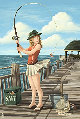 Pinup Girl Fishing on Ocean (12x18 Art Print, Wall Decor Travel Poster)