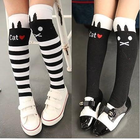 Weimay Girls Knee High Stockings Cute Cat Patr/ón calzas Calcetines de pierna m/ás calientes Negro, 1 par
