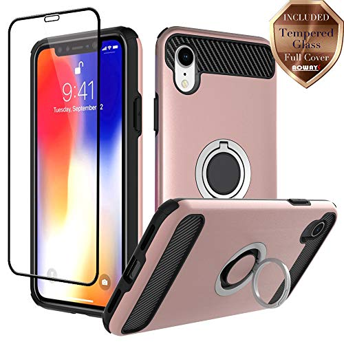 Aoways Case for iPhone XR Case, Tempered Glass Screen Protector, Armor Dual Layer Case with Rotatable Finger Ring Kickstand Magnetic Car Mount Protective Cover for Apple iPhone XR (6.1