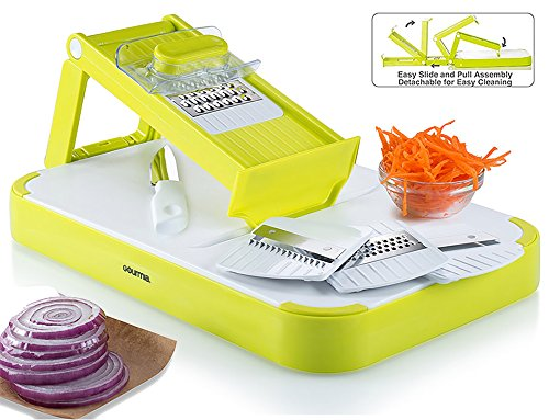 Gourmia GMS9255 Mandoline Slicer & Cutting Board Set Kitchen Slicer & Food Prep Board Combo With 4 Interchangeable Blades & FREE Bonus Knife, (Folding Grater)