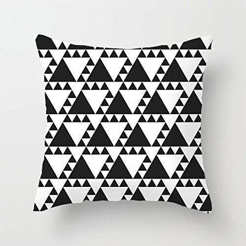 "Heavyxias 18""x18"" Black Triangles Decorative Throw Pillow Ca"