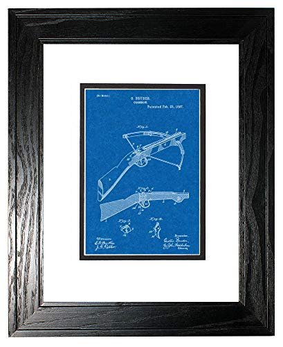 """Crossbow Patent Art Blueprint Print in a Black Pine Wood Frame with a Double Mat (8"""" x 10"""") M12757"""