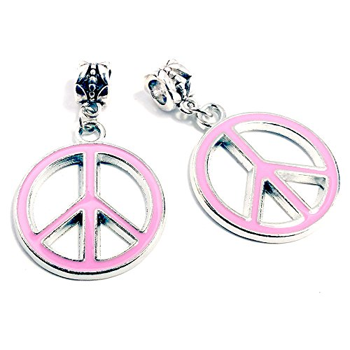 Hippie Peace Sign Jewelry Set (Sabai NYC Silvertone Reversible Enamel Peace Sign Matching Friendship Slide Pendants (Pink))