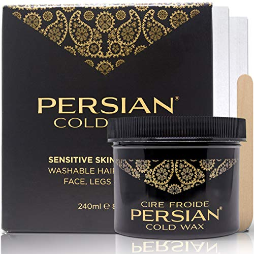 Persian Cold Wax Kit, Hair Removal Sugar Wax for Body Waxing Women & Men, 8 oz (240ml) wax, 20 strips, 2 spatulas.