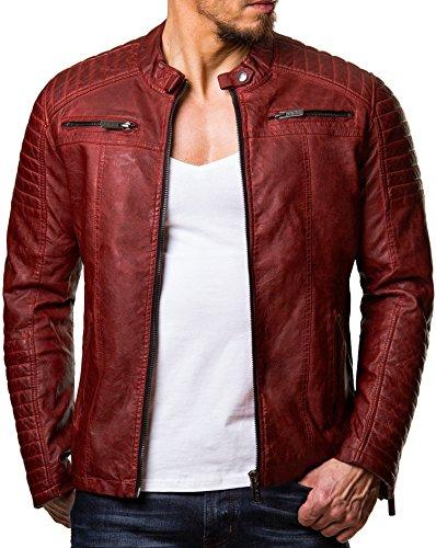 Moto Rouge Similicuir Veste cuir Cuir Bridge Simili Coton Vestes Transition Côtelé Blouson Red véritable Hommes vROwqRT
