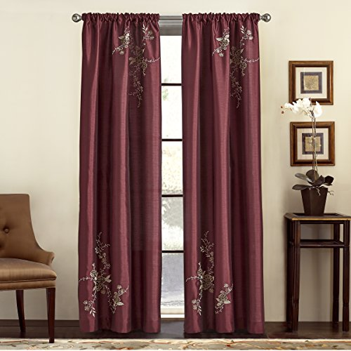 Panel Alesandra Window (CHF & You Alesandra Floral Embroidered Faux Silk Window Curtain Panel, Red, 44-Inch X 63-Inch)