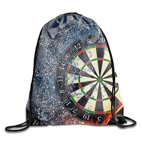 (Darts Wheel Target Fire Water Drawstring Backpack Beam Mouth Sport Bag Rucksack Shoulder Bags For Men & Women)