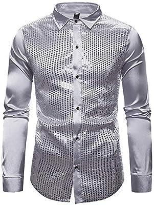 BJHIOJ Chaqueta Metálica con Lentejuelas para Hombre Botones Camisa Manga Larga Discoteca Discoteca Fiesta Baile Casual Blouson Disfraz,Plata,S: Amazon.es: Deportes y aire libre
