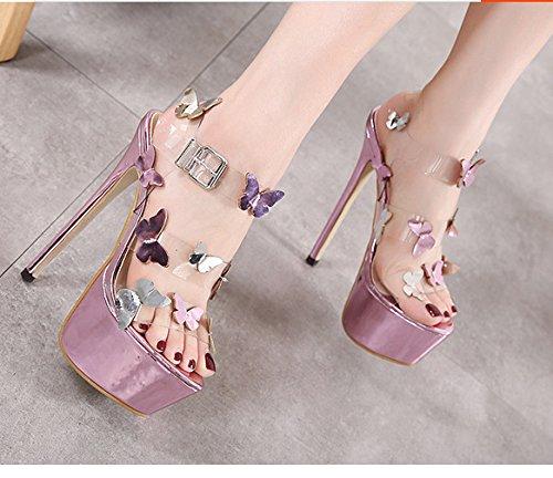 ZHUDJ Stilettos Mirren Butterfly Zapatos con Un Buen Club Catwalk Peep Toe Sandalias De Tacón Violet
