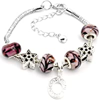 design handmade lampwork Murano glass metal beaded European charm bracelet S-A96