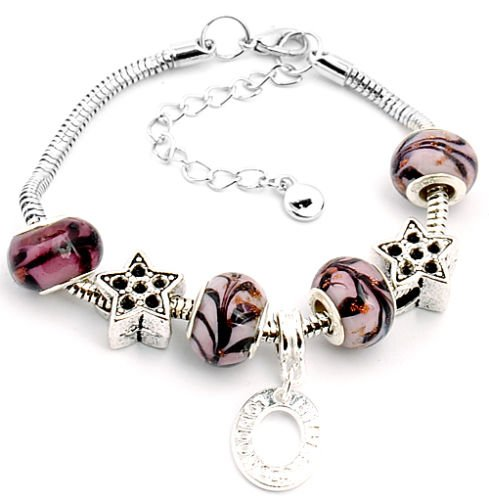 Ransopakul design handmade lampwork glass metal beaded European charm bracelet S-A96