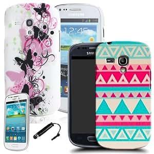 Phoenix - Carcasas para Samsung Galaxy S3 Mini i8190 (2 unidades, con protector de pantalla y lápiz capacitivo negro), diseño de pirámides y mariposas