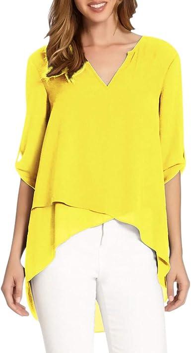 beautyjourney Blusa de Gasa de Las Mujeres Cuello Pico 3/4 Mangas Color sólido túnica Camisa Jumper Tops Camiseta Suelta de Dobladillo Irregular: Amazon.es: Ropa y accesorios