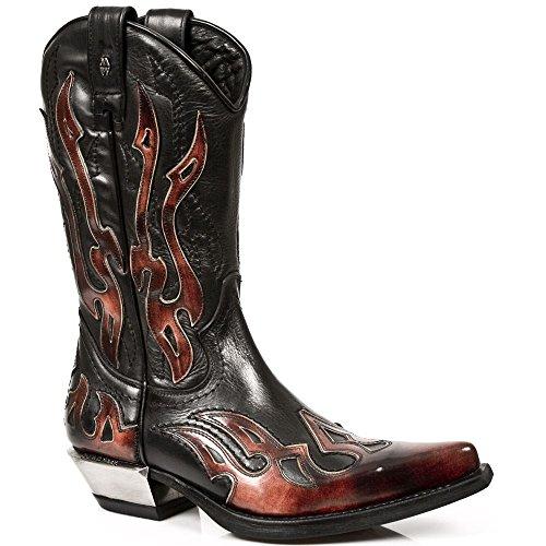 Stivali Texani Newrock Rossi & Neri Unisex Stile Casual Cowboy in Pelle Rosso-Neri Rosso-neri Venta Bajo Costo w3wxi5q