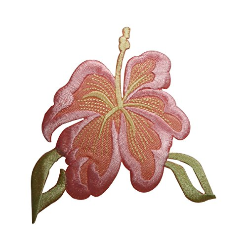 ID 6315 Pink Hibiscus Flower Patch Hawaii Garden Embroidered Iron On Applique ()