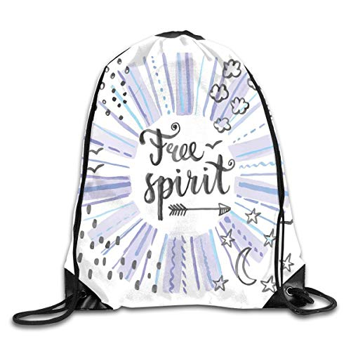 Drawstring Backpacks Bags,Watercolor Lettering Free Spirit Starburst Inspired Doodled Icons Stars Clouds Dots,5 Liter Capacity,Adjustable