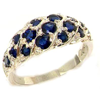 925 Sterling Silver Real Genuine Sapphire Womens Band Ring
