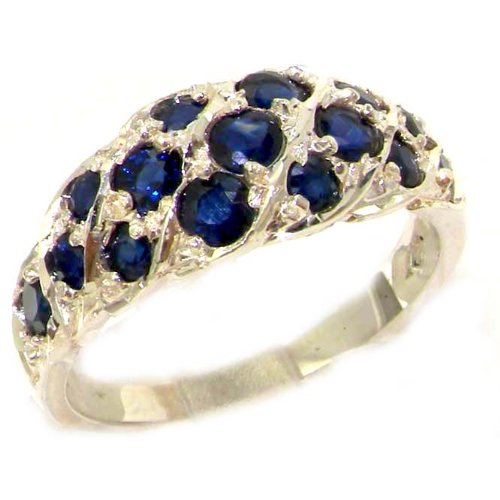 925 Sterling Silver Natural Sapphire Women's Band Ring
