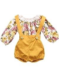Baby Girls Long Sleeve Princess Floral Romper+ Suspenders...