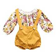Baby Girls Long Sleeve Princess Floral Romper+ Suspenders Short Pants Overall Jumpsuit Outfit (18-24 Months, Yellow)