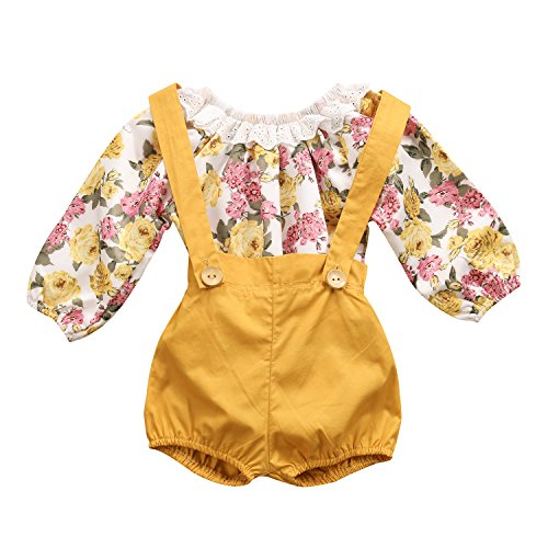Mrs.Baker'Home Baby Girls Long Sleeve Princess Floral Romper+ Suspenders Short Pants Overall Jumpsuit Outfit (0-6 Months, Yellow)