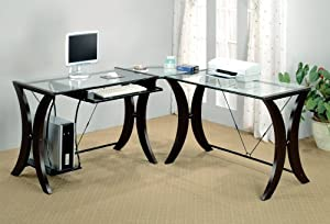 coaster l shape home office computer desk cappuccino finish base glass top buy shape home office