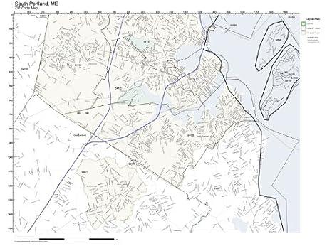 Amazon.com: ZIP Code Wall Map of South Portland, ME ZIP Code Map ...