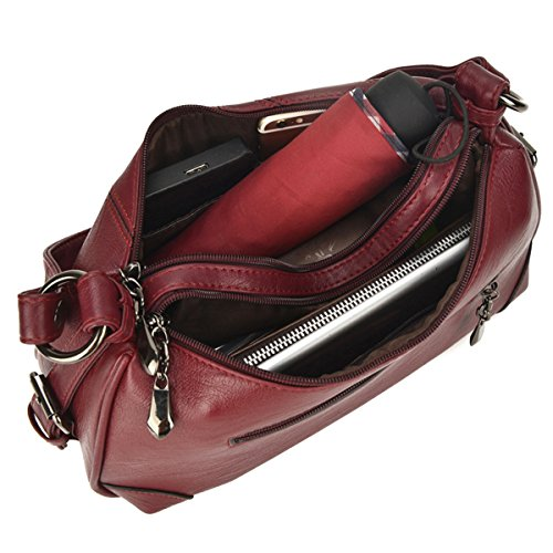 Leather Wine Genuine Women Bag Bag Crossbody Tote Shoulder Red Oversized Soft Millya Luxurious Fashion Handbag Designer 6qFwndAtE