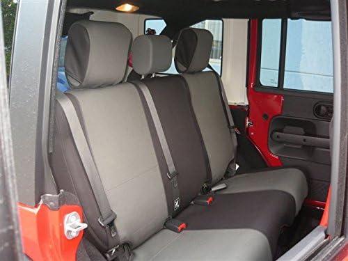 GEARFLAG Neoprene Seat Cover Custom fits Wrangler JK 2007-17 Unlimited 4 Door Full Set with Side airbag Opening Grey//Black jp Front + Rear Seats