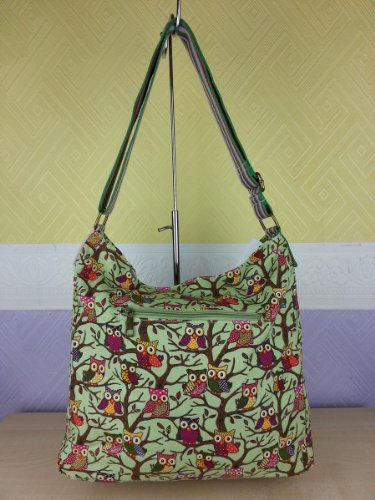 Designer Messenger Ladies Bag Green Tree Canvas Cross Body Owl PqxwrPzCg