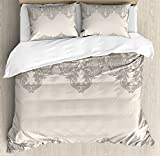 Ambesonne Taupe Duvet Cover Set King Size, Lace Like Framework Borders with Arabesque Details Delicate Intricate Retro Dated Print, Decorative 3 Piece Bedding Set with 2 Pillow Shams, Taupe