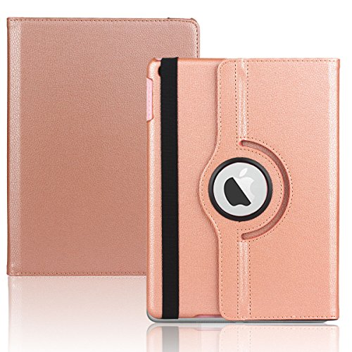 New iPad 9.7 inch 2017 Case,360 Degree Rotating Stand Smart Cover Full Body Protective Cover for New iPad 2017 New iPad 9.7 inch 2017 Rose (Closed Loop Ecu)