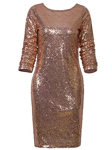 Vijiv Womens Sexy Deep V Neck Sequin Glitter Bodycon Stretchy Mini Party Dress Gold Large