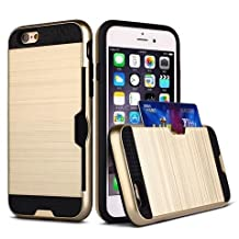 Apple iPhone 6 Plus / 6S Plus - [Pro-Mobile] Credit Card Holder Case Hybrid Slim Protective Cover Dual Layer Wallet Case - Gold